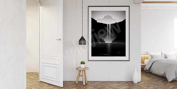 Poster weiß-schwarze Landschaft