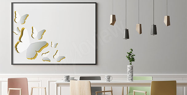 Poster weiße Schmetterlinge