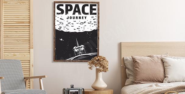 Poster Weltall schwarz-weiß