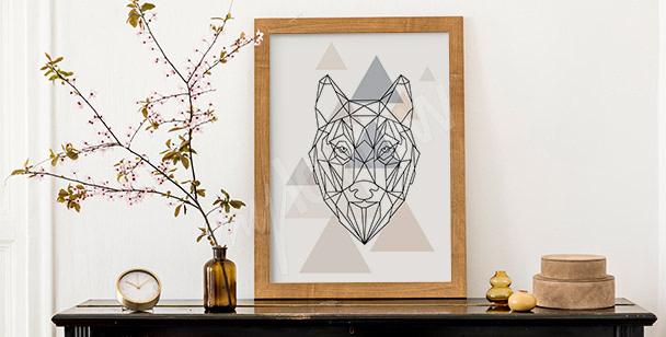 Poster Wolf in Geometrie