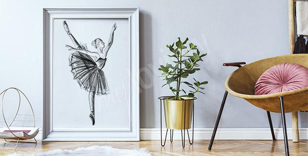 Poster Zeichnung einer Ballerina