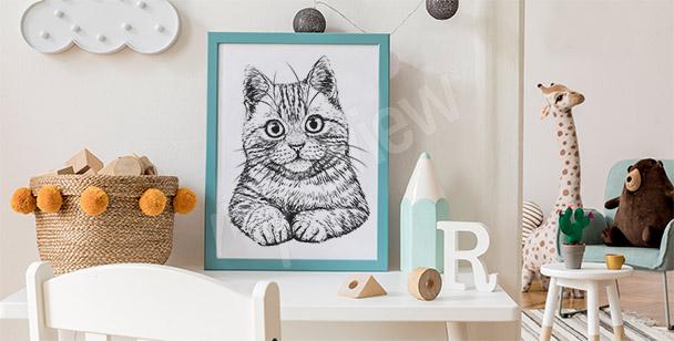 Poster Zeichnung von einer Katze