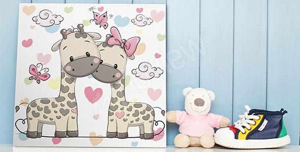 Poster zwei Giraffen