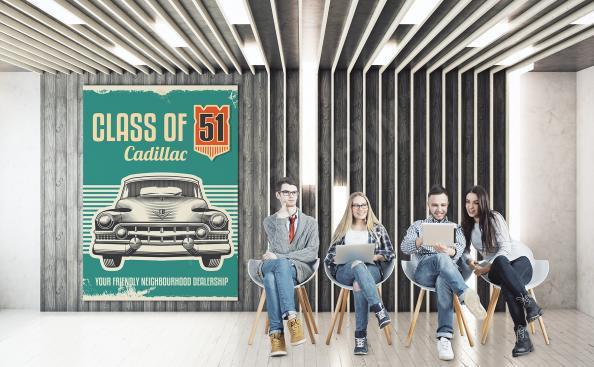 Retro Poster mit einem klassischen Auto
