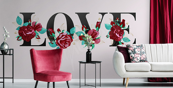 Romantische typografische Fototapete