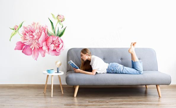Rosa Sticker Pfingstrosen fürs Wohnzimmer