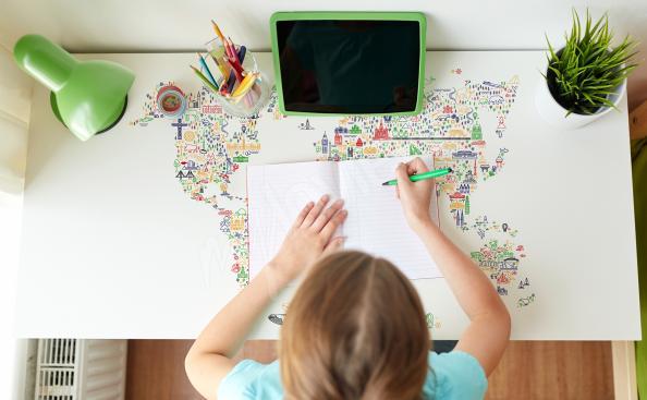 Schreibtischsticker mit der Karte