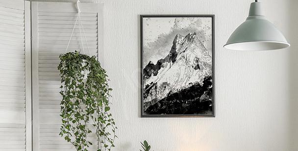 Schwarz-weiß Poster Berge
