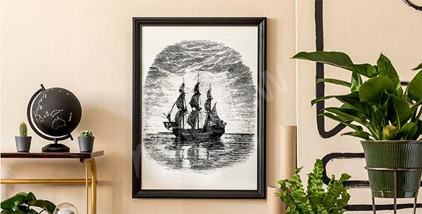 Schwarz-Weiß-Poster mit Schiff