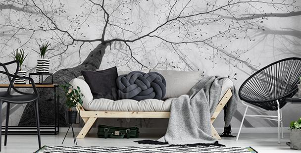 Schwarz-weiße Fototapete Baum