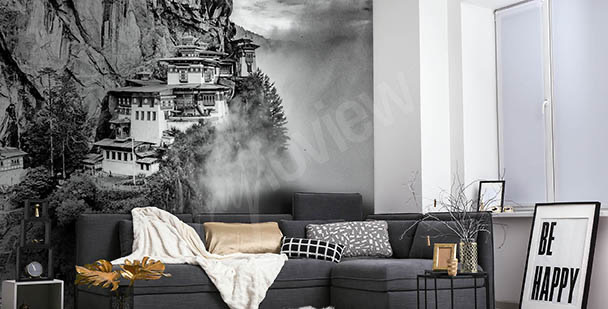 Schwarz-weiße Fototapete mit Ansicht von Asien