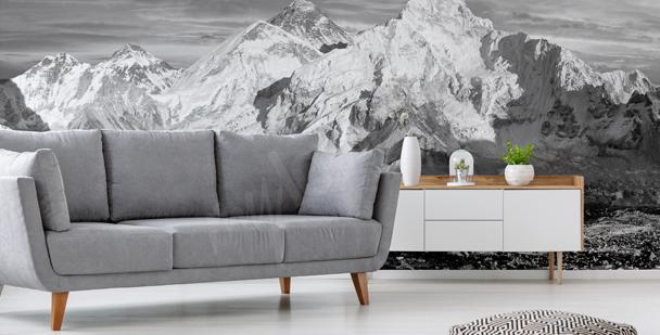 Schwarz-weiße Fototapete mit Bergen
