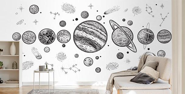 Schwarz-weiße Fototapete Planeten