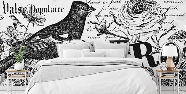 Schwarz-weiße Fototapete Retro