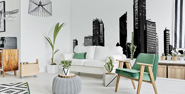Schwarz-weiße Fototapete Stadtpanorama