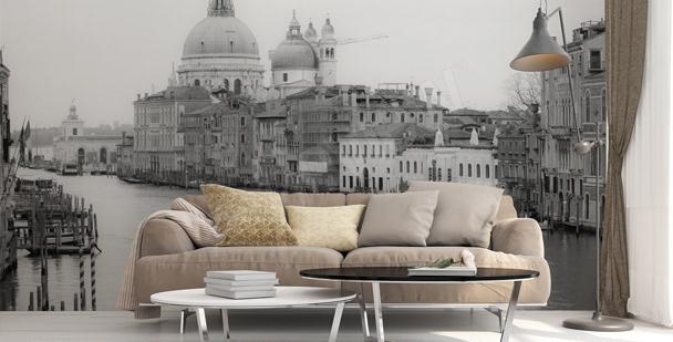Schwarz-weiße Fototapete Venedig