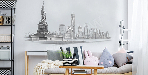 Schwarz-weißer Sticker fürs Wohnzimmer