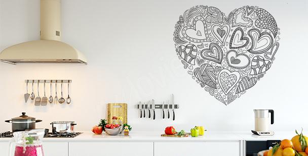 Schwarz-weißer Sticker Herz
