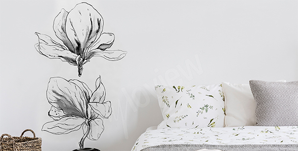Schwarz-weißer Sticker mit Magnolie
