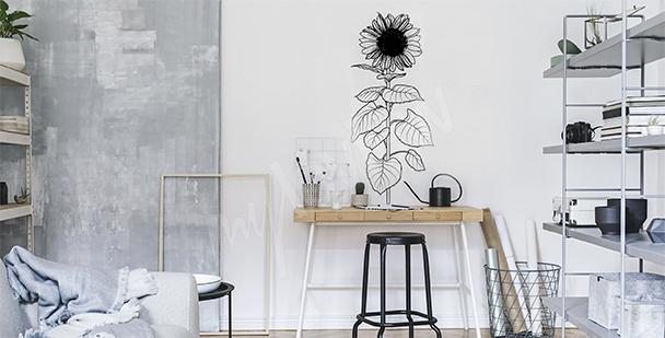 Schwarz-weißer Sticker mit Sonnenblume