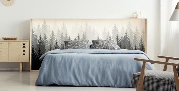 Schwarz-weißer Sticker mit Wald
