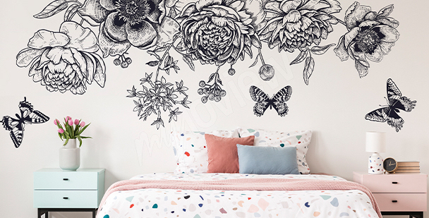 Schwarz-weißer Sticker Schmetterlinge