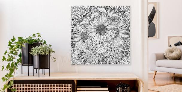 Schwarz-weißes Bild Blumenstrauß
