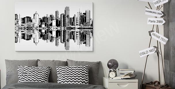 Schwarz-weißes Bild mit Stadt