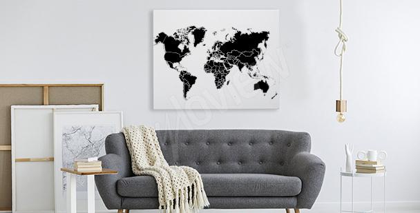 Schwarz-weißes Bild mit Weltkarte