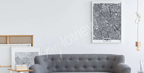 Schwarz-weißes Poster Landkarte