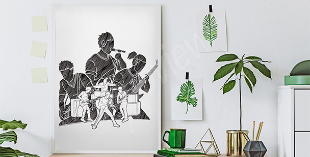 Schwarz-weißes Poster Musiker
