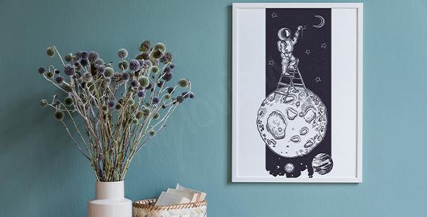 Schwarz-weißes Poster Weltraum