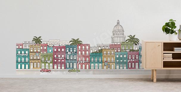 Städtischer Sticker mit Palmen