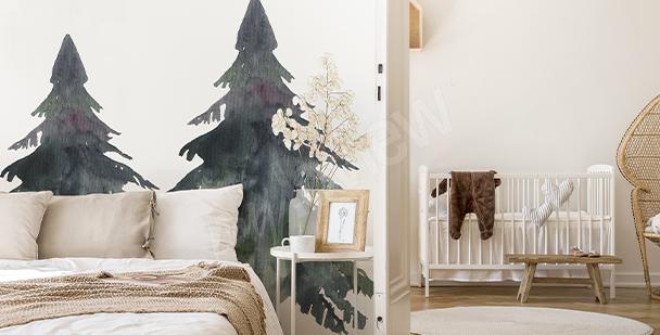 Sticker schwarze und graue Bäume