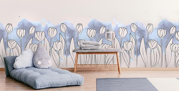 Sticker Blumen auf buntem Hintergrund