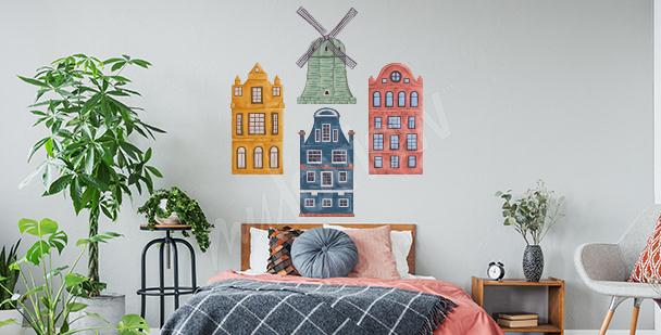 Sticker bunte Häuser fürs Schlafzimmer