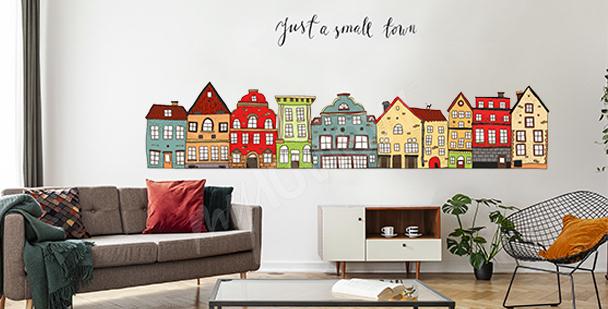 Sticker bunte Häuser fürs Wohnzimmer
