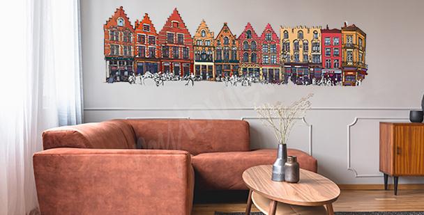 Sticker bunte Häuser in Belgien