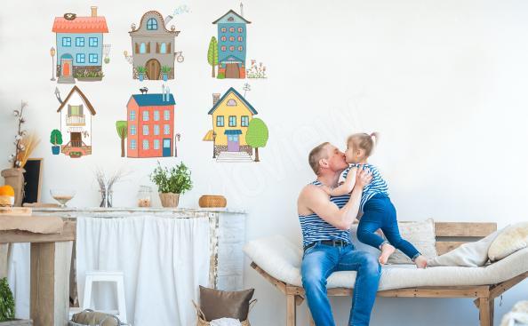 Sticker bunte kleine Häuser