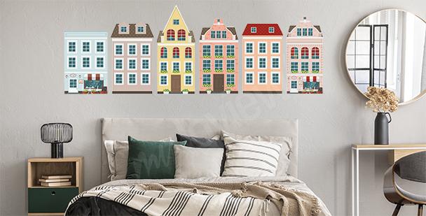 Sticker europäische bunte Häuser