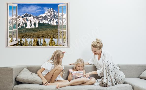 Sticker Fenster mit einer Landschaft