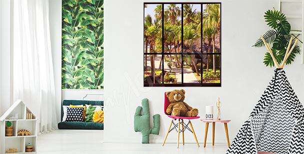 Sticker Fenster mit tropischer Aussicht