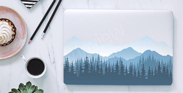 Sticker für den Laptop Berge im Nebel