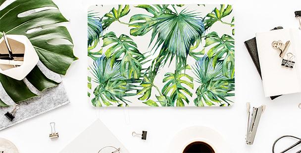 Sticker für den Laptop mit Blättern