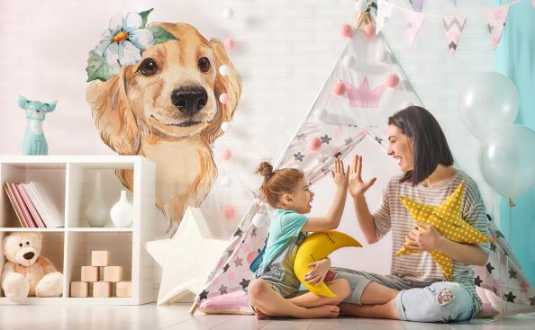 Sticker fürs Kinderzimmer süßer Hund