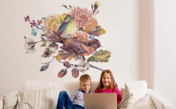 Sticker fürs Wohnzimmer Vögel auf Ast