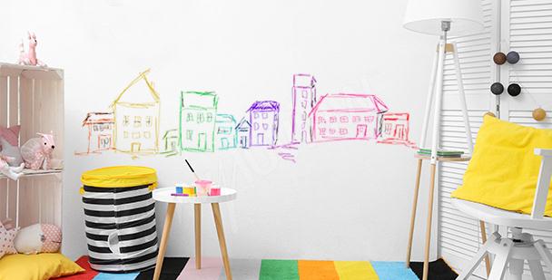 Sticker gestrichene bunte Häuser