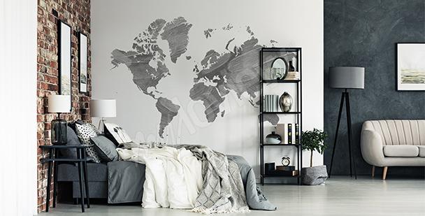Sticker graue Weltkarte