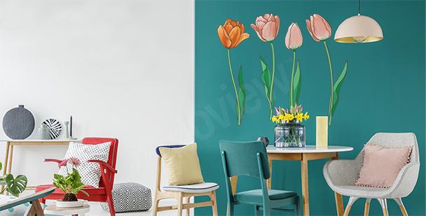 Sticker handgemalte Tulpen