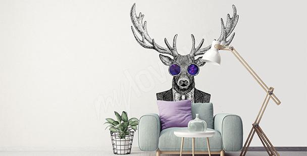 Sticker Hirsch im Hipster-Wohnzimmer